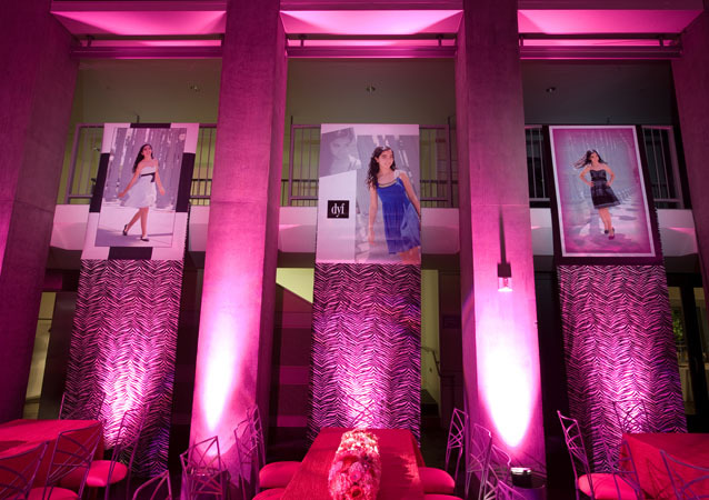 LA Wedding Planner Wayne Gurnick: full service Bat Mitzvah reception design, planning and coordination at Skirball Cultural Center, fashion theme