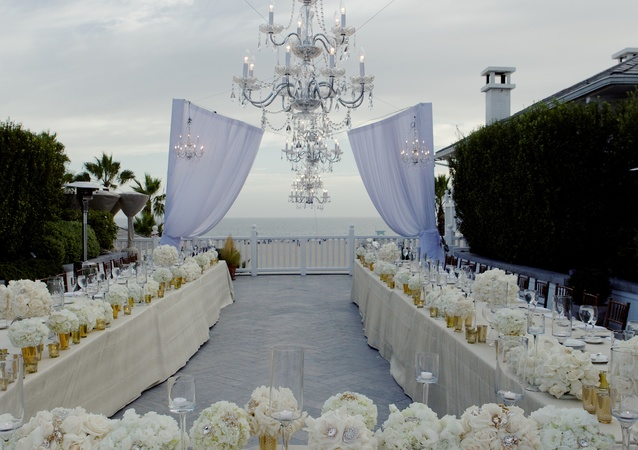 Elegant beach wedding in the sand and under the stars at Shutters on the Beach